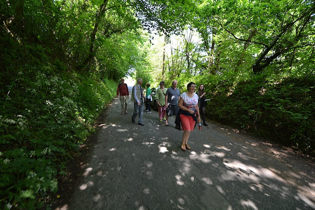The Causley Walk group treading Wooda Lane with Arthur Wills