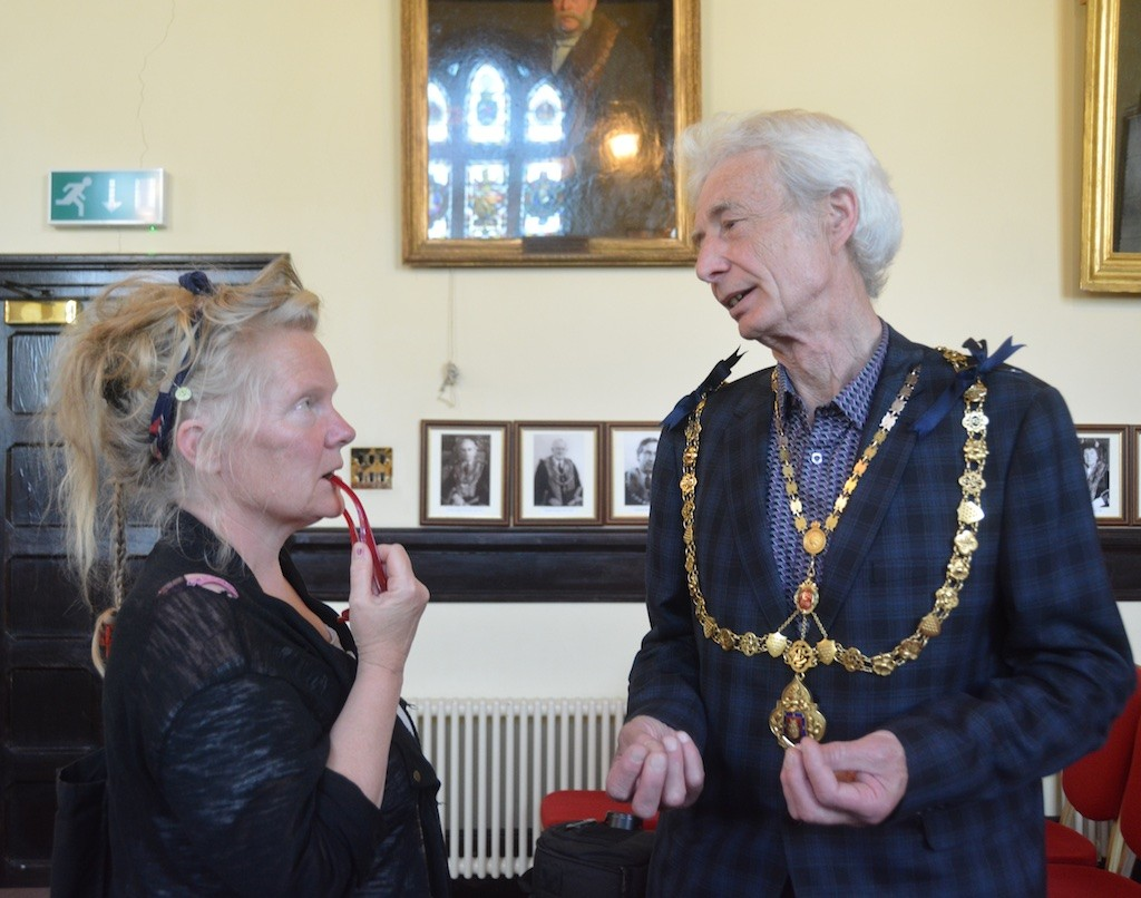 Karen Hayes with Launceston's Mayor, Brian Hogan