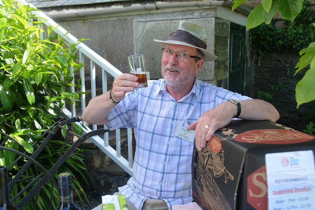 Rob Tremain sampling a glass of the local brew