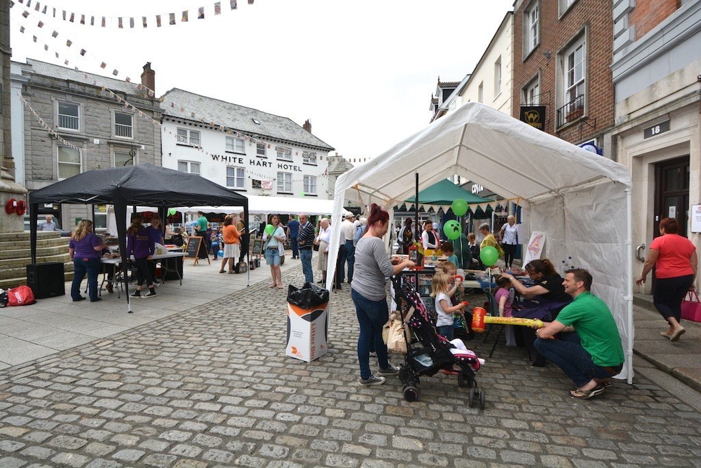 A multiplicity of marquees and tents for 'Fun in the Square'