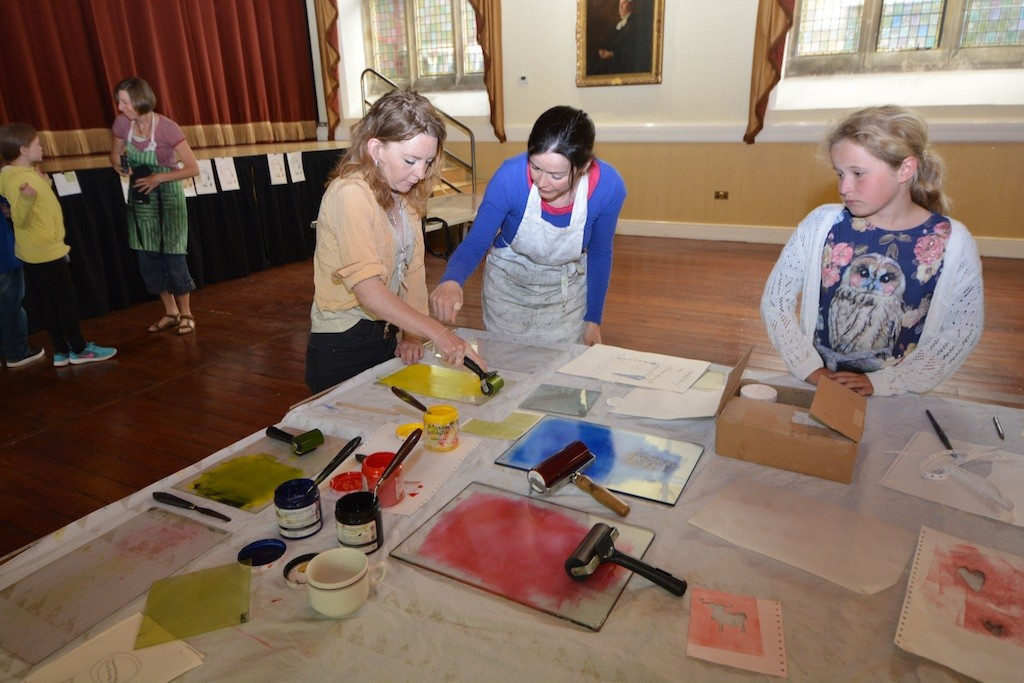Swanskin in the Town Hall: the inking-up stage for screenprinting