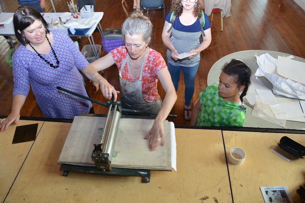 Swanskin's screenprinting session at the Town Hall