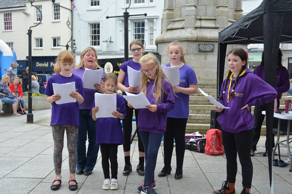 Singing in the Square on a Saturday afternoon