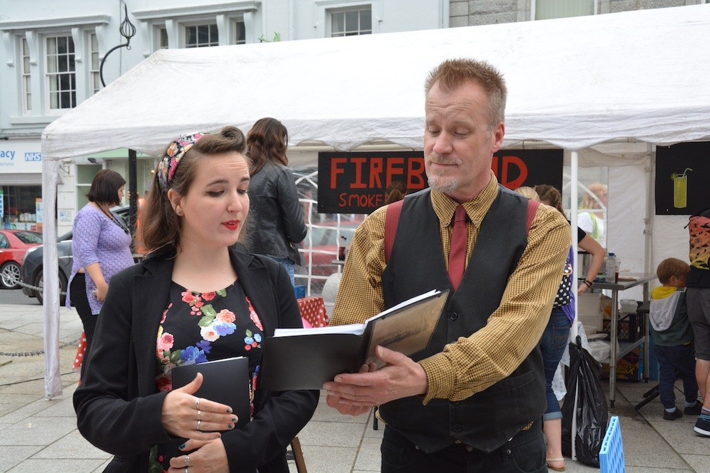 Two members of Story Republic read/ perform some Causley