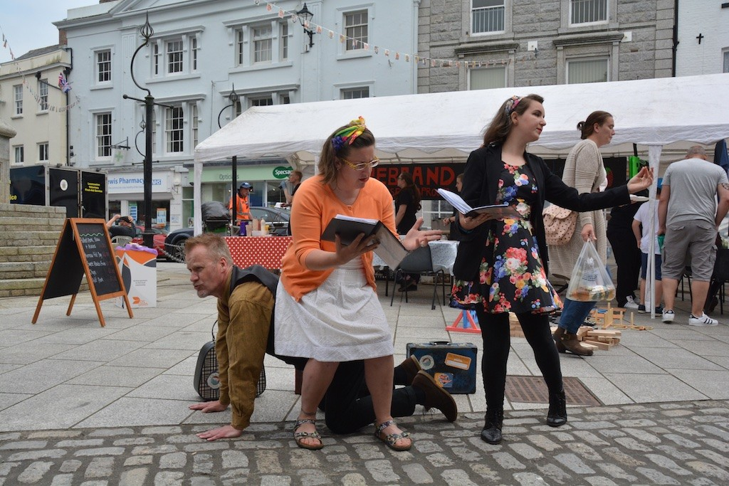 Story Republic in full flow, dramatising a Causley piece in the Square