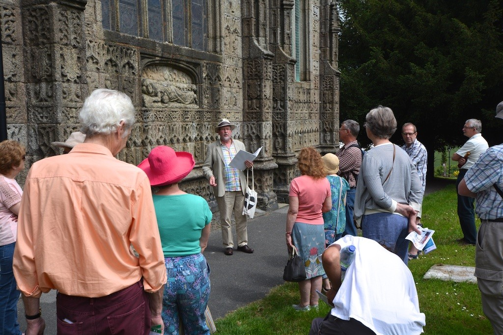 Rob tremain holds forth at the statue of Mary Magdalen